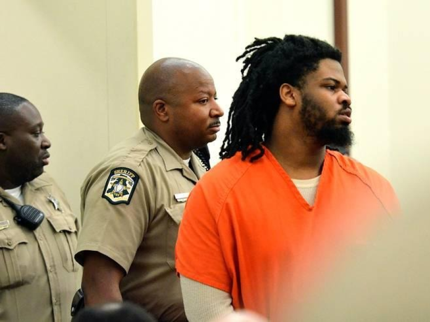 Rayquan Borum is shown during an earlier court hearing where he pleaded not guilty to the first-degree murder charge.