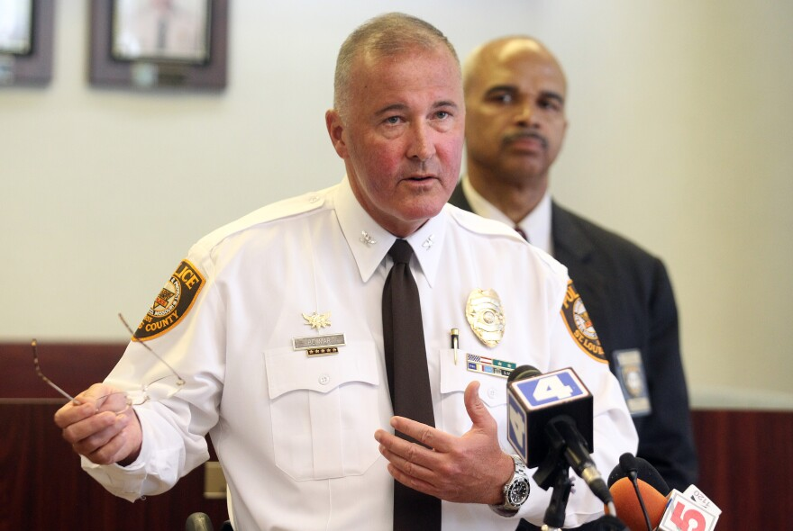 St. Louis County Police Chief Jon Belmar at a press conference Thursday, Sept.4