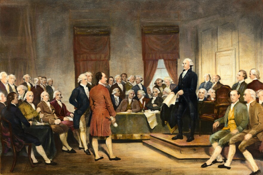 Future President George Washington is depicted at the U.S. Constitutional Convention. The country's founders foresaw the threat of foreign interference in our elections.