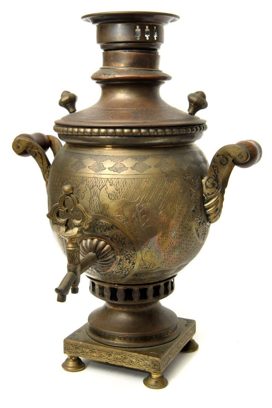 A late 19th-century samovar made in Tula, Russia, a metalworking town south of Moscow. The very first samovar factory opened in Tula in 1778. As demand for samovars grew, the town became almost synonymous with the production of the giant hot-water urns.