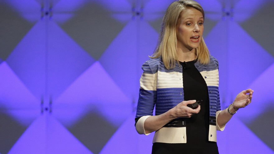 Yahoo CEO Marissa Mayer delivers the keynote address at the Yahoo Mobile Developer Conference in San Francisco on Feb. 18, 2016.