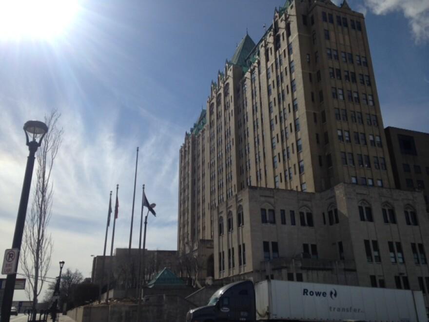 A view of Saint Louis University Hospital, taken 02/23/15.
