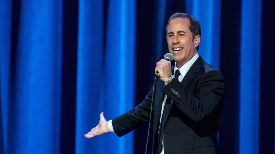 "Jerry Seinfeld pictured in his Netflix special, <em>23 Hours to Kill</em>. He says he's ""adjusted pretty comfortably"" to life at home."