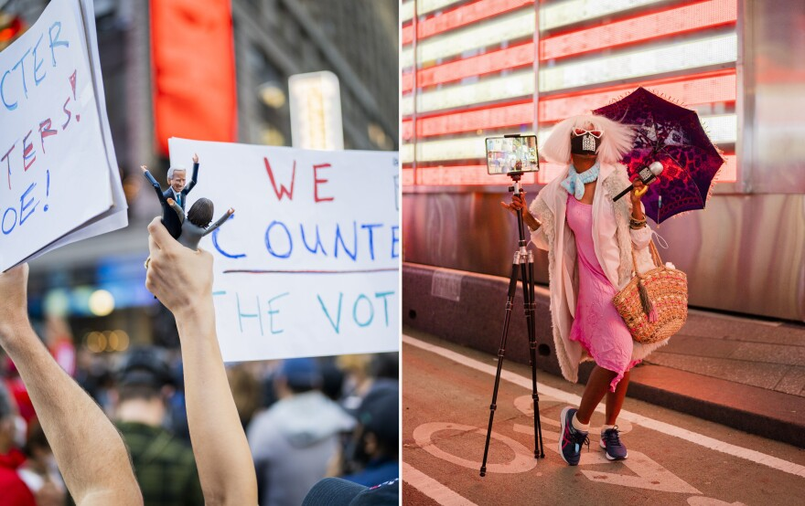 "<strong>NEW YORK CITY:</strong> Left photo: People celebrate Joe Biden's presidential election win in Times Square. Right photo: Kanene Holder, creator of ""BlackIssuesISSUES,"" poses for a portrait. Holder's comedy show and web series uses humor to heal the racial divide."