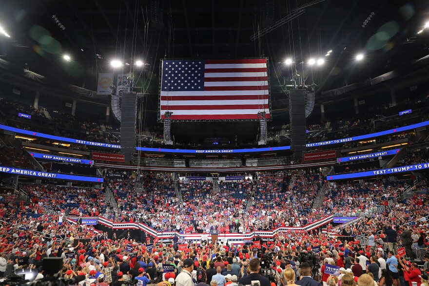 President Trump speaks last week at a rally in Orlando where he kicked off his campaign for a second term. Unlike his ramshackle campaign in 2016, his 2020 effort relies on a large volunteer organization and sophisticated voter targeting.