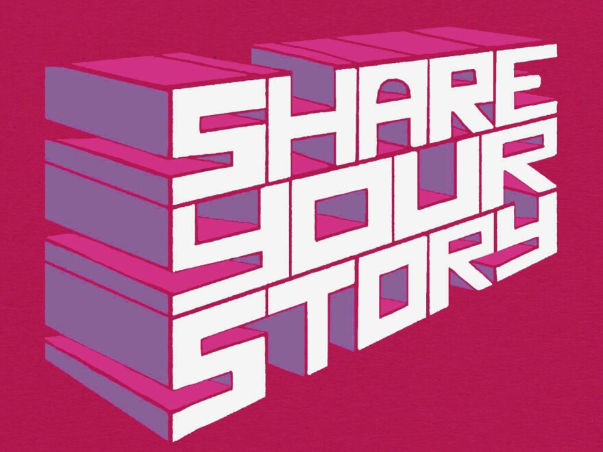 """""""Share your story"""" illustration"""