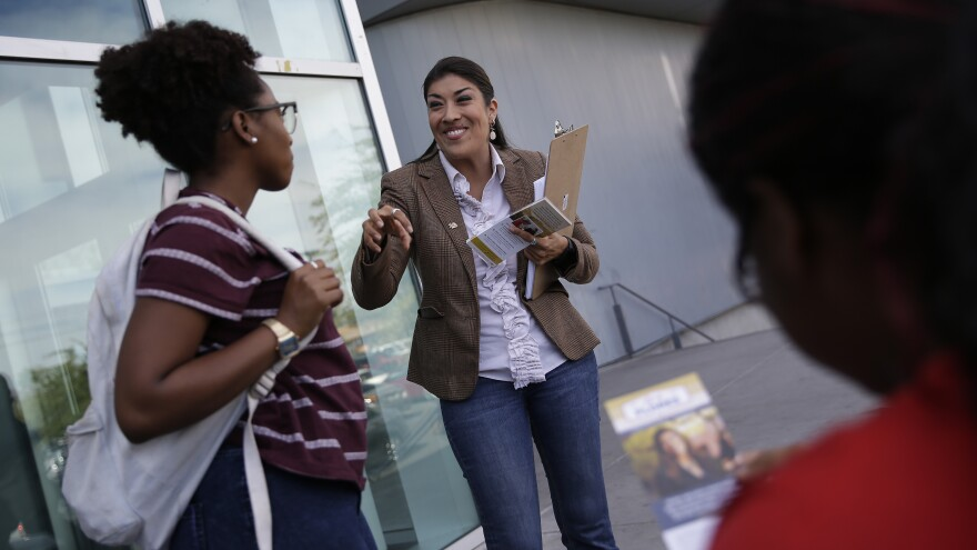 Lucy Flores, the Democratic candidate for Nevada lieutenant governor, campaigns at the University of Nevada, Las Vegas on Thursday.