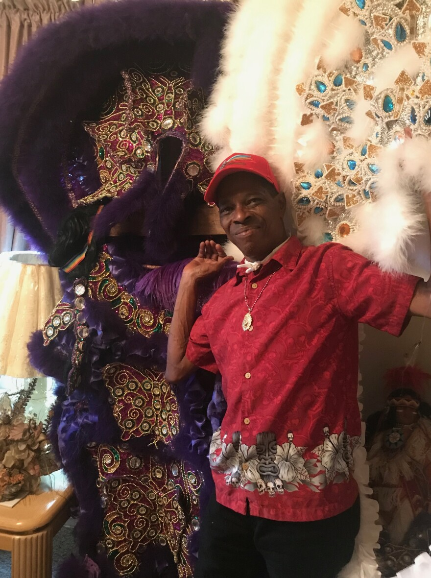 Big Chief Lil Charles Taylor of the White Cloud Hunters at his home in New Orleans. Taylor gives classes at the nearby Ellis Marsalis Center for Music, teaching children to sew in the tradition.