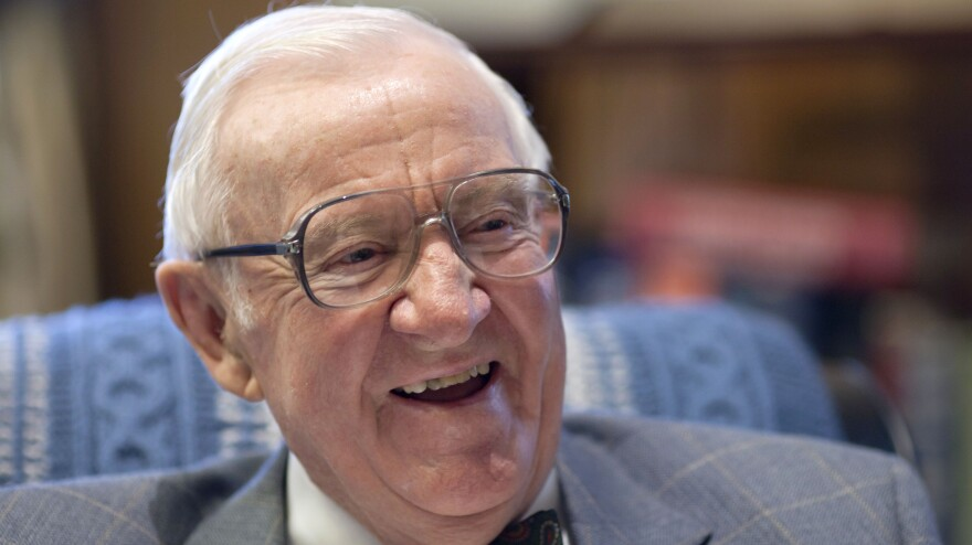 Retired Supreme Court Justice John Paul Stevens, then 91, works in his office at the Supreme Court on Sept. 28, 2011.