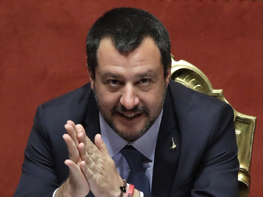 Italian Interior Minister Matteo Salvini, shown March 20 at the Italian Senate in Rome, vowed the migrants would not be allowed into Italy.