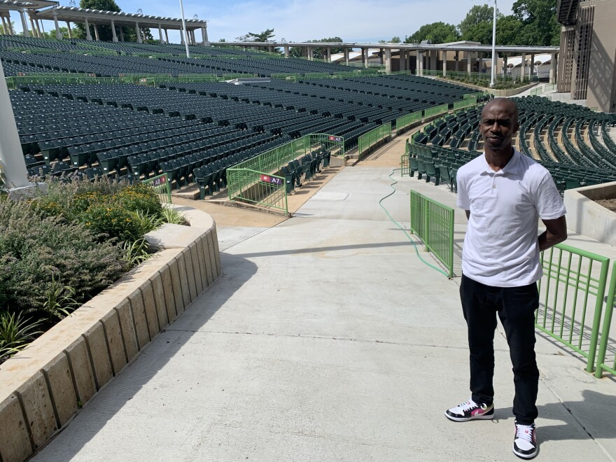 Muny Managing Director Kwofe Coleman stands in the empty theater. [6/25/20]