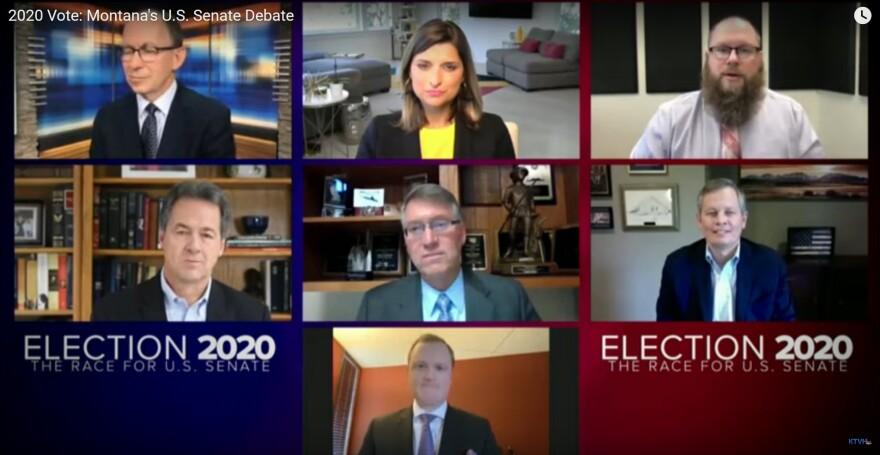 U.S. Senate candidates Republican Steve Daines and Democrat Steve Bullock debated via video August 8, 2020.