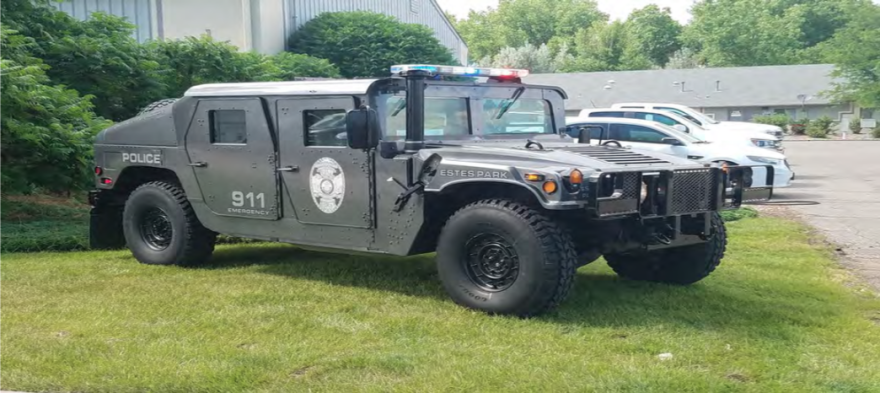 A military humvee obtained by the police department in Estes Park, Colorado, through the Defense Logistics Agency's Law Enforcement Support Office, or LESO.