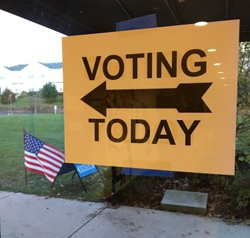 A 'voting today' sign outside of an Ohio polling station