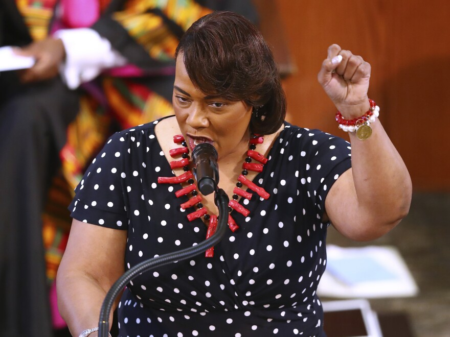 "The Rev. Bernice King says' ""No justice, no peace'"" while speaking at Rayshard Brooks' funeral in Ebenezer Baptist Church on Tuesday."