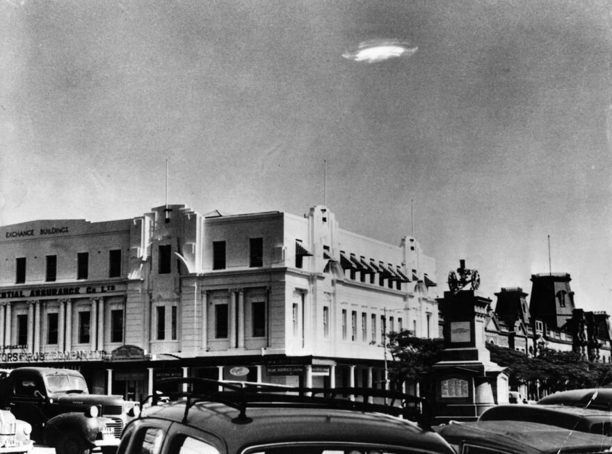 An Unidentified Flying Object is pictured over Bulawayo, in what is now Zimbabwe.