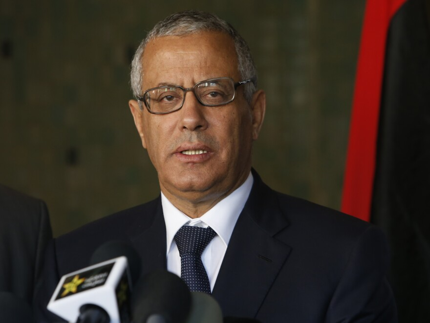 Libyan's Prime Minister Ali Zeidan speaks to the media during a news conference in Rabat, Morocco, on Tuesday, two days before he was abducted.