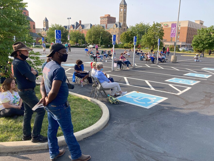The forum attracted a socially-distanced crowd of community attendees.