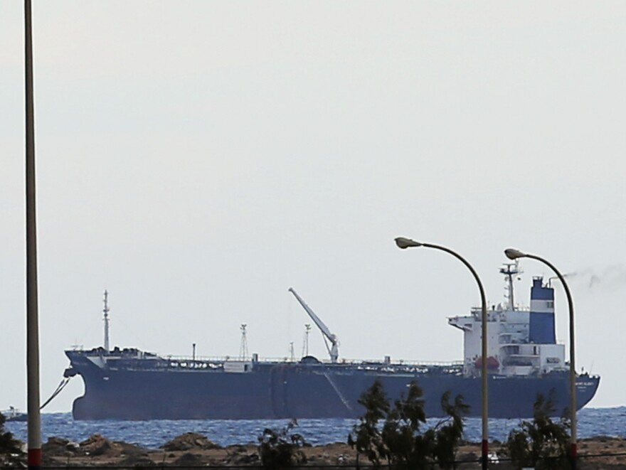 "The North Korean-flagged tanker ""Morning Glory"" is docked at Sidra's export terminal at Ras Lanuf earlier this week."