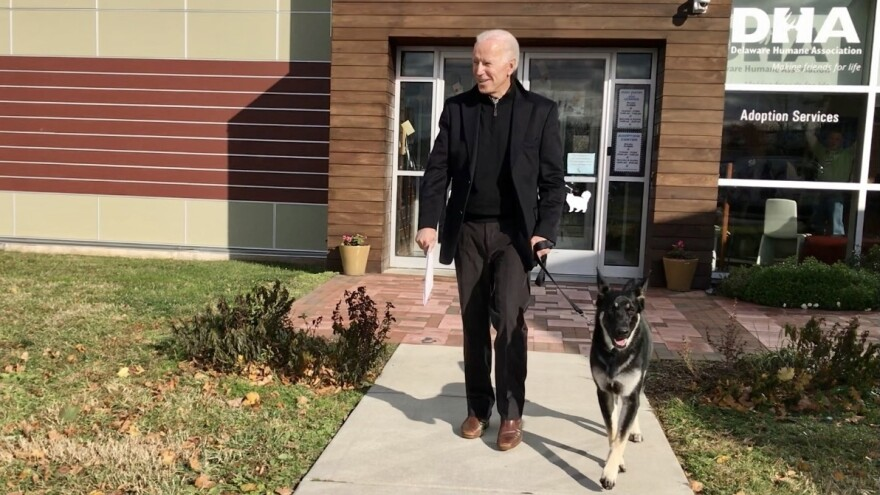 President-elect Joe Biden at the Delaware Human Society on Nov. 17, 2018, the day he officially adopted his dog, Major.