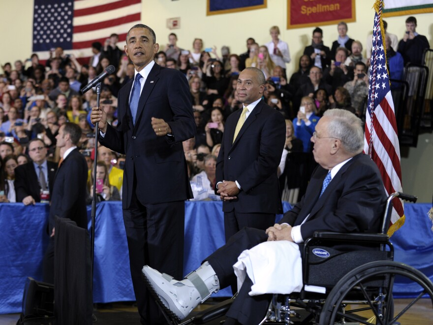 Mayor Thomas Menino, who is recovering from a broken leg unrelated to the bombing, watches on as President Obama speaks during an interfaith healing service last week following the Boston Marathon blasts.