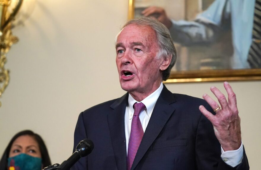 Senator Ed Markey (D-MA) speaks at the Back the Thrive Agenda press conference at the Longworth Office Building in Washington, DC.