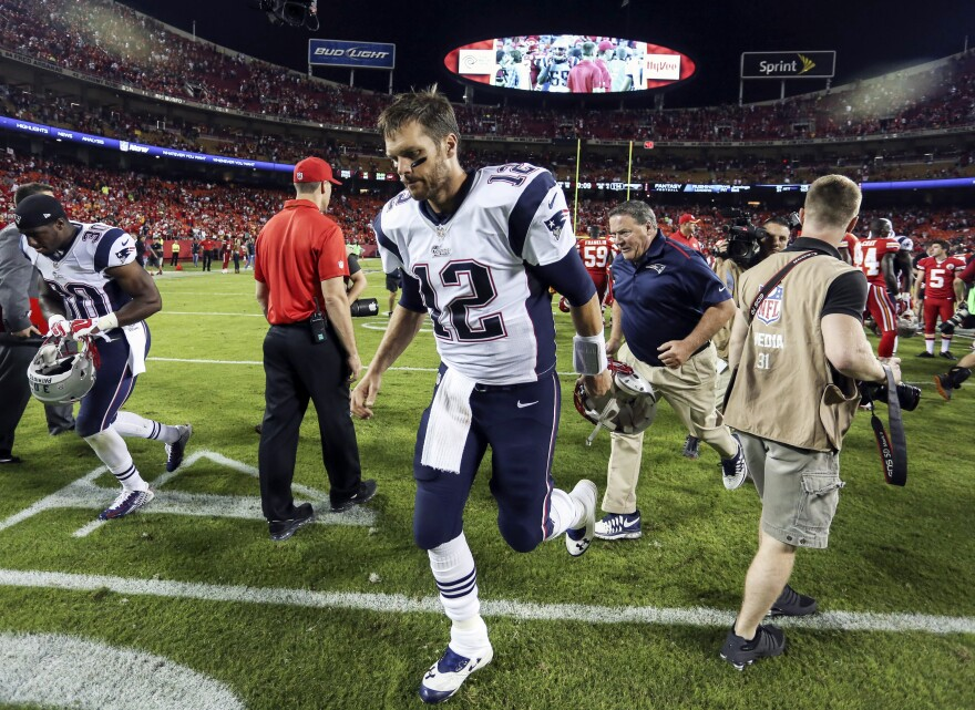 New England Patriots quarterback Tom Brady jogs off the field following a 41-14 loss to the Kansas City Chiefs in an NFL football game on Monday.