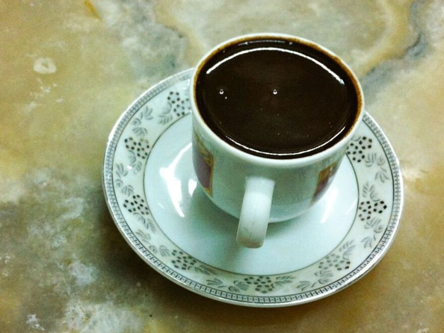 "The Turkish coffee served at Mandabatmaz cafe in Istanbul, where the coffee is served ""so thick even a water buffalo wouldn't sink in it."""
