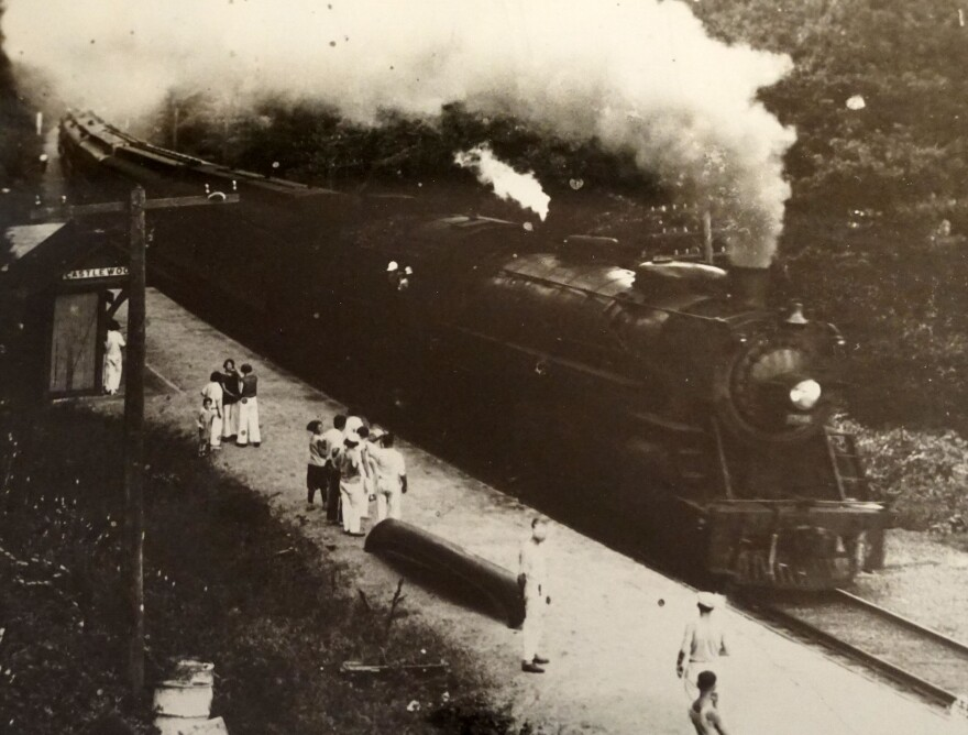 Visitors traveled to the Castlewood area on the Missouri Pacific Railroad and disembarked at a train station near the tracks.