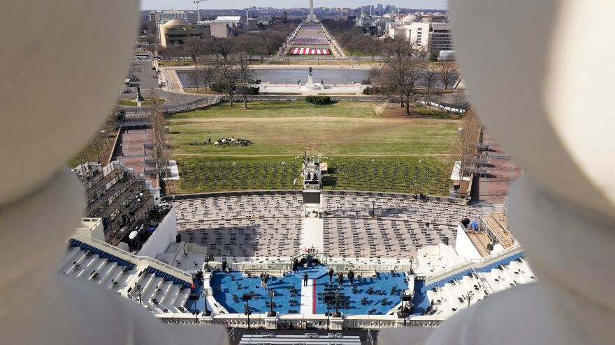 The stage at the U.S. Capitol is prepared for Biden's inauguration. There will be no crowd allowed on the National Mall this year.