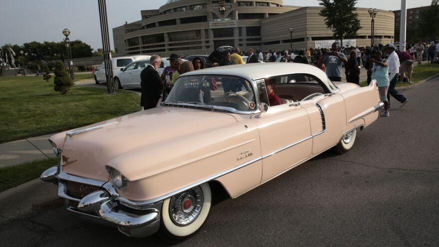 A pink Cadillac outside the viewing of Aretha Franklin at the Detroit's Charles H. Wright Museum of African American History on Tuesday.