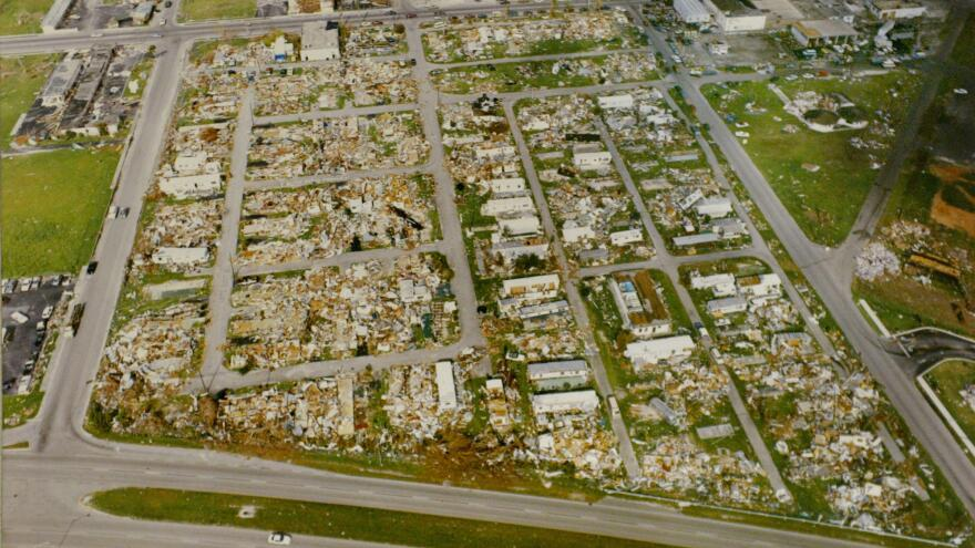 An aerial view of Homestead, Fla., taken on Sept. 7, 1992, two weeks after Hurricane Andrew's 165-mile-per-hour winds took out nearly every building in the city.