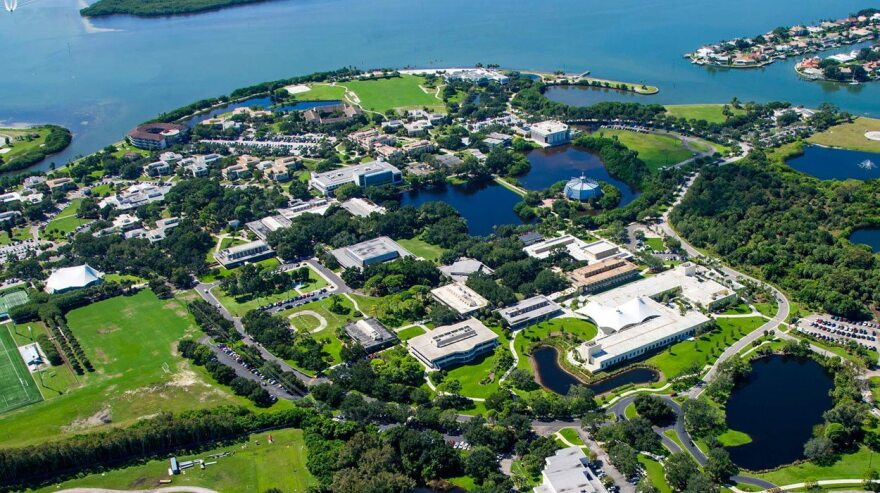 Aerial view of the Eckerd College campus.