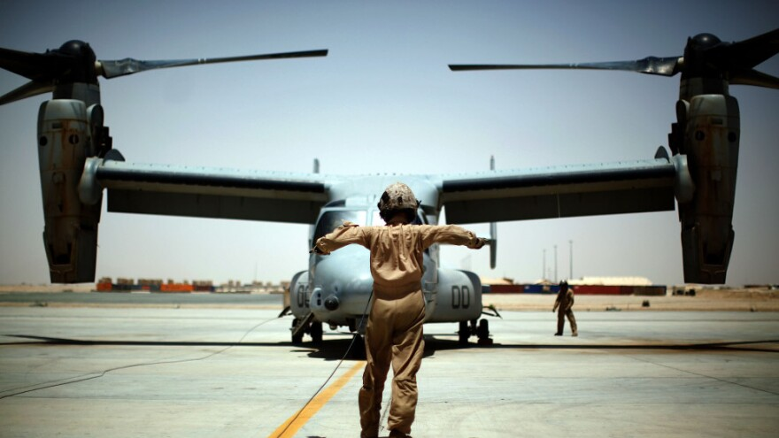 <p>A U.S. Marine Osprey at Camp Leatherneck in southern Afghanistan. The aircraft suffered multiple problems when it was being developed, but is now getting praise from those flying it.</p>