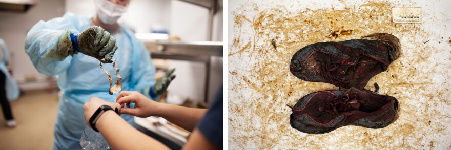 Left: Texas State graduate students place the personal items found with the remains in a plastic bag. Right: Sneakers are measured and documented from intake OPID 699. The personal items will be sanitized and then cleaned by hand as part of the intake process. Some individuals have been identified first by their shoes, a letter or other personal items found with their remains.