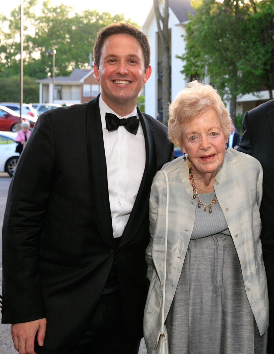 Opera Theatre of St. Louis General Director Andrew Jorgensen with Phyllis Brissenden at last year's spring gala.  [2/6/20]