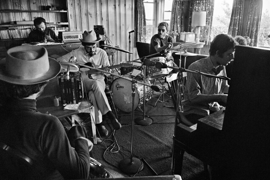 Robbie in the center, Richard at the piano, rehearsing at Richard and Garth's house on Spencer Road. Woodstock, NY, '68