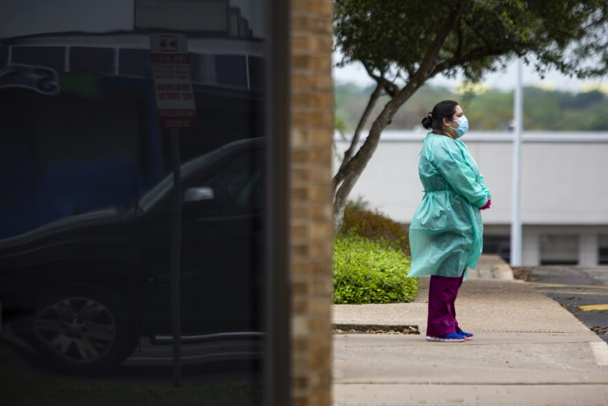 A health care worker at Austin Regional Clinic in South Austin during the coronavirus pandemic.