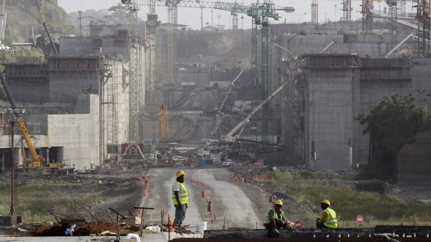 Workers at the construction site of the Panama Canal expansion project on the outskirts of Colon City, Panama, on Tuesday.