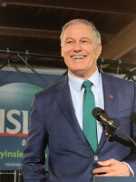 """Washington Gov. Jay Inslee announces his run for the 2020 presidency at A&R Solar on March 1 in Seattle. He says tackling climate change should be """"Job 1"""" for the next president."""