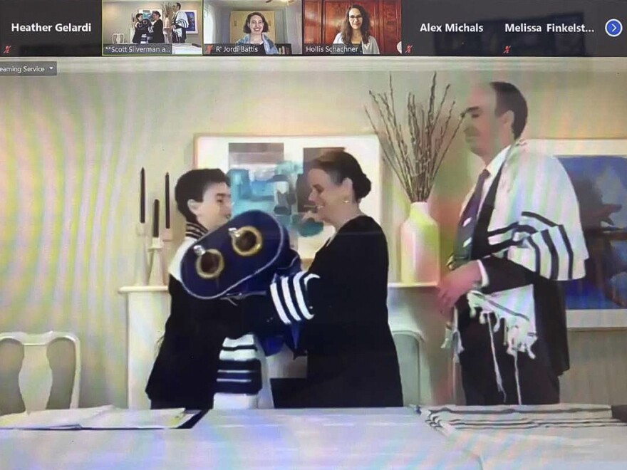 Gabe Silverman is sheltering at home with his family and this is the first Zoom mitzvah for Temple Shir Tikva, a congregation west of Boston.