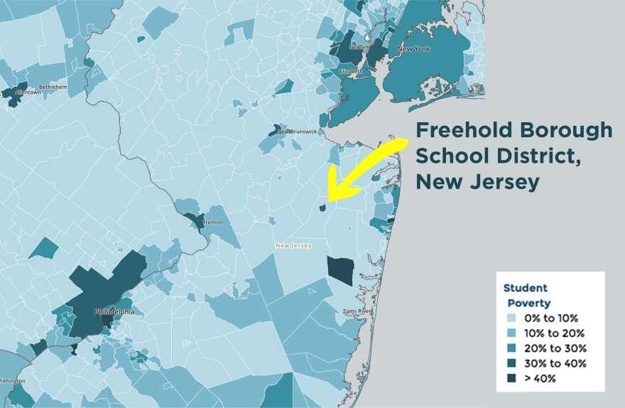 """A close look at New Jersey's school districts shows """"island"""" districts with higher levels of poverty than the surrounding districts."""