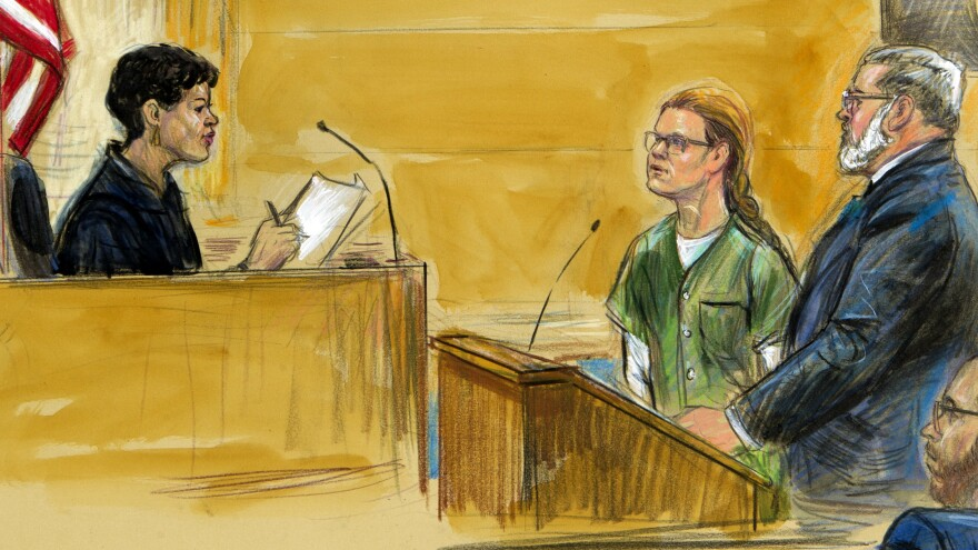 U.S. District Judge Tanya Chutkan was depicted in this sketch during a hearing with Maria Butina (center) and her attorney, Robert Driscoll, in December.