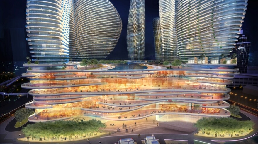 An design rendering shows the Genting Group's proposed casino and resort complex on Miami's Biscayne Bay. The Malaysian developer's plans are meeting resistance in Florida, where casinos are tightly controlled.
