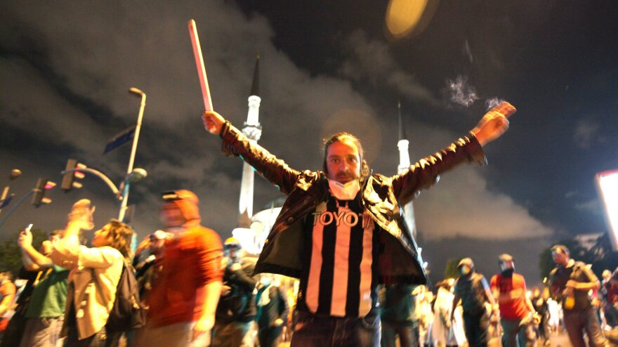 The scene at one of the protests in Istanbul early Monday.