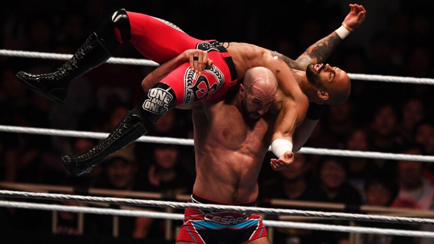 Cesaro and Ricochet compete during the WWE Live Tokyo on June 29, 2019.