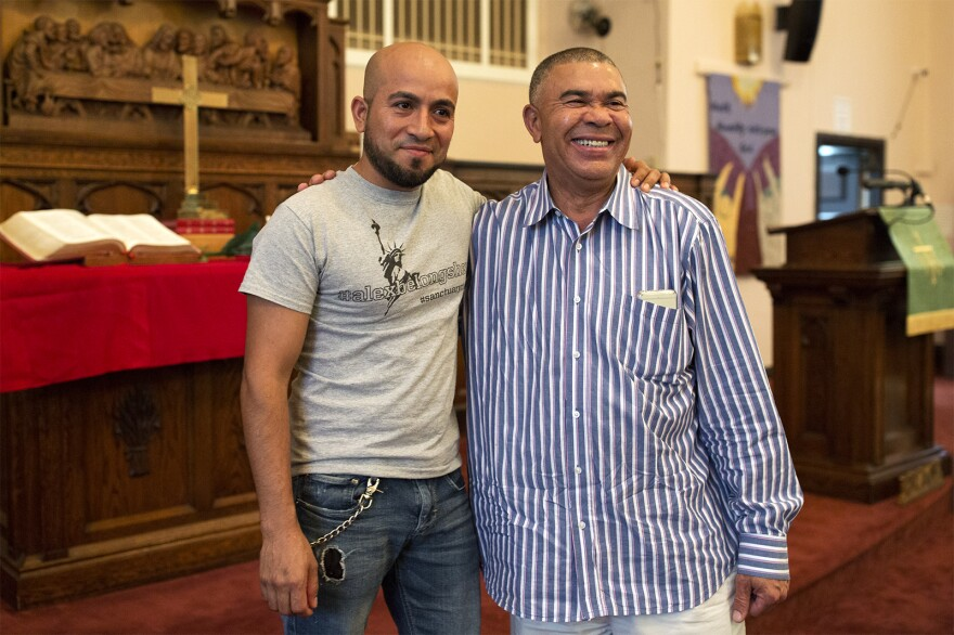 Alex Garcia and U.S. Rep. Lacy Clay pose for a picture after meeting in May 2018.
