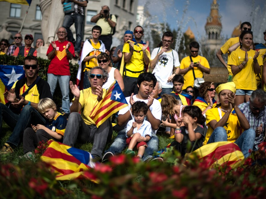 Pro-independence Catalans gather in Catalonia Square in Barcelona on Oct. 19. The nonbinding referendum is slated for Nov. 9.