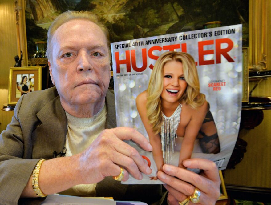 Larry Flynt talks about the 40th anniversary of <em>Hustler</em> magazine at his offices in Beverly Hills, Calif., on Aug. 26, 2014.
