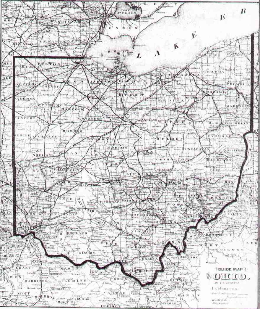 1873 guide map of Ohio